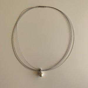 925 Silber-Kette mit Perle und Strass