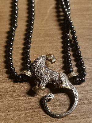 925 Silber Leopard mit Blutperlen