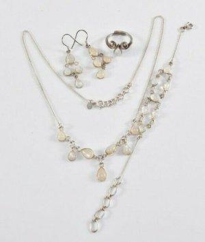 925 Silber Mondstein Schmuckset Collier Armband Ring Ohrringe