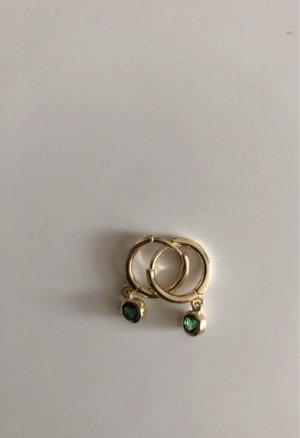 echt Silber 925 Zilveren oorbellen goud-groen
