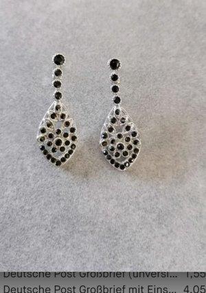 925 Silber Ohrringe mit dunkle Stein