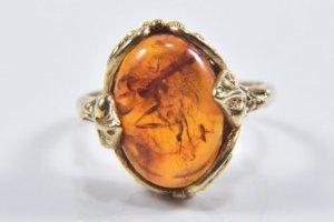925 Silber Ring 8kt vergoldet mit Bernstein gold Silberring