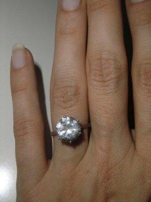 925 Silber Ring mit facettiertem Stein  Sterling Silber