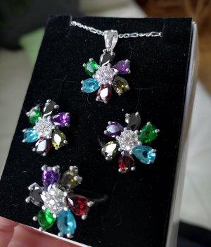 925er Silber Parure bijoux multicolore