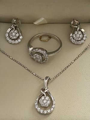 925er Silber Jewellery Set silver-colored