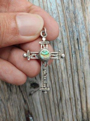 925 Silberkreuz Anhänger mit Pāua Muschel Sterling Ethno Kreuz Echtes Silber True Vintage echtes Silber