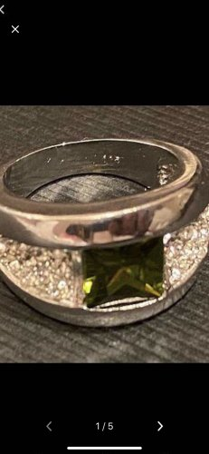 Silver Ring silver-colored-green
