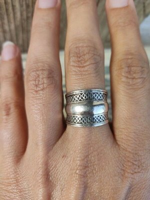 925 Silberring Sterling Ethno Vintage breiter Ring Echtes Silber