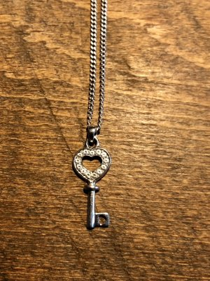 925 Sterling Silber Kette mit Anhänger Schlüssel Herz Strasssteine