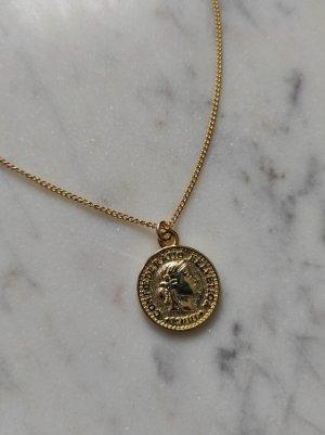 925 Sterling Silber Kette vergoldet Amulett Münze coin