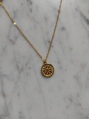 925 Sterling Silber Kette vergoldet Amulett Sonne Sun