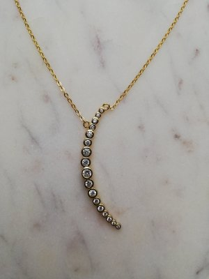 925 Sterling Silber Kette vergoldet mit Mond Mondsichel Crescent Moon Halbmond Tarot Zirkonia