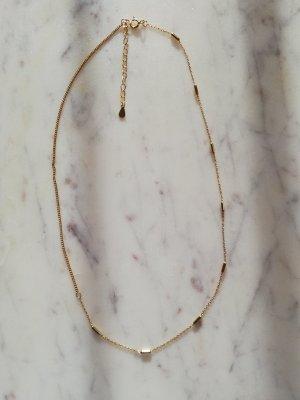 925 Sterling Silber Kette vergoldet mit Stäbchen
