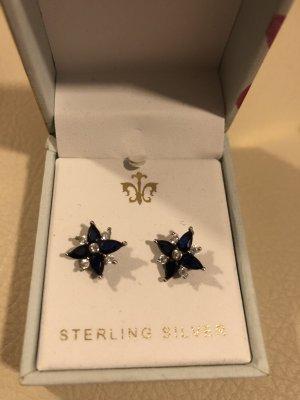 Boucles d'oreilles en argent argenté-bleu foncé