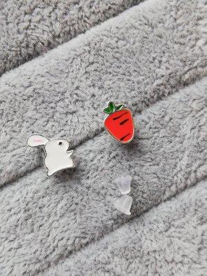 Srebrne kolczyki biały-pomarańczowy