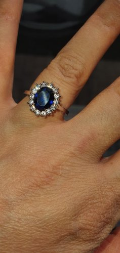 925 Anello d'argento blu