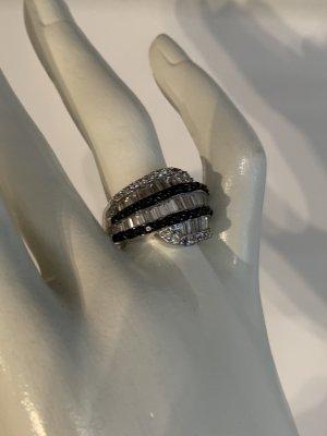 Anello d'argento argento-nero