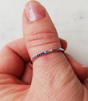925 Sterling Silber Ring mit Regenbogen Rainbow colorful Zirkonia bunt Gr. 51