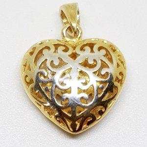 925 Sterling Silber vg gold Herz Anhänger Silberanhänger verziert edel Charm Herzanhänger