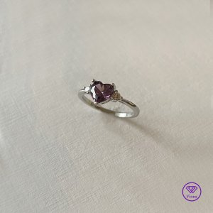 ♈️ 925 Sterlingsilber Ring mit rosa Herz Kristall, Gestempelt, Neu