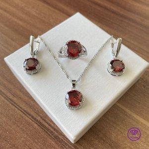 Viona Jewellery Set silver-colored-dark red