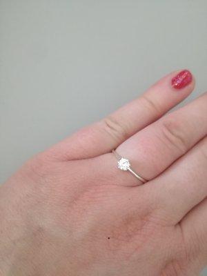 925er Silber Ring mit kleinem Zirkoniastein