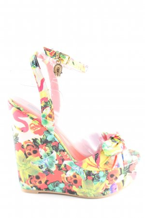 Sandalias de tacón con plataforma estampado floral estilo extravagante