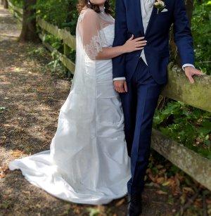 A-Linie Bandeau Brautkleid Hochzeitskleid Satin ivory Größe XL-4XL
