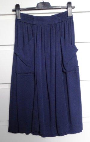H&M Falda de talle alto azul oscuro-azul