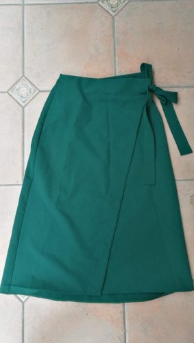 Asos Petite Wraparound Skirt dark green polyester