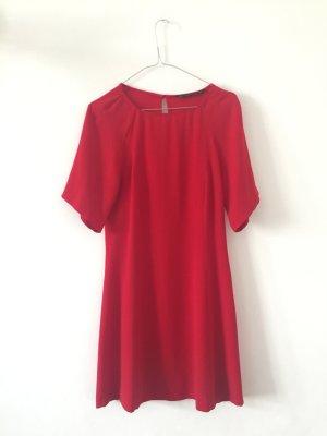 A-Linien-Kleid Kurzarmkleid mit Raglanärmel rot S Zara