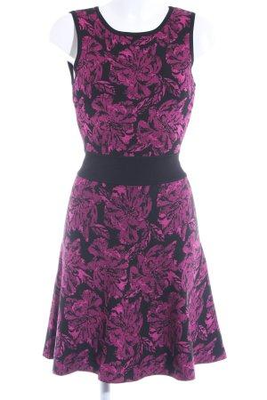A-Linien Kleid magenta-schwarz Blumenmuster Elegant