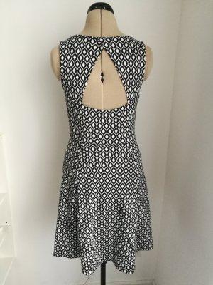 H&M Sukienka o kroju litery A biały-ciemnoniebieski