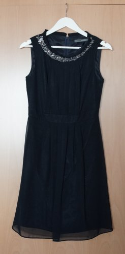 A-Linien Kleid // Pailletten am Kragen // Dunkelblau // Größe 36