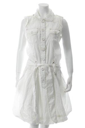A-Linien Kleid weiß Metallic-Optik