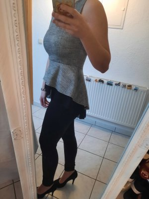NoName Peplum Top black-light grey