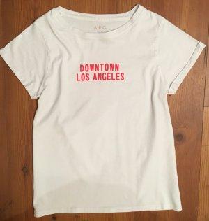 A.P.C. T-shirt blanc-rouge foncé coton