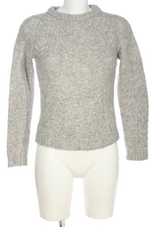 A.P.C. Pull en crochet gris clair-blanc cassé torsades style décontracté