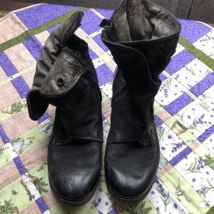 A.S.98 Zipper Booties black-dark brown leather