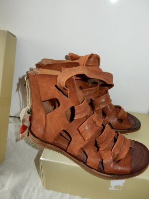 Airstep Strapped High-Heeled Sandals cognac-coloured leather