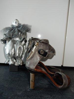 A.S.98 Sandaletto con tacco alto grigio scuro Pelle
