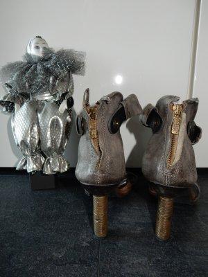 A.S.98 Sandales à talon haut gris foncé cuir