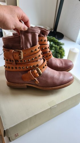 A.S.98 Booties gold orange leather