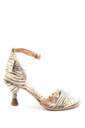 A.S.98 High Heel Sandal cream-brown allover print casual look