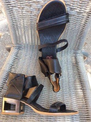 A.S.98 Sandały na obcasie z rzemykami czarny-srebrny