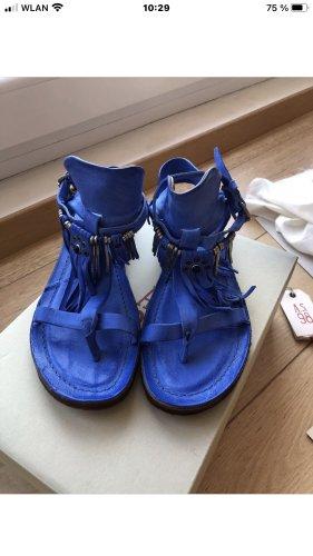 A.S.98 Sandalo con tacco alto e lacci a T blu
