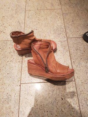 Air Step Platform Sandals bronze-colored leather