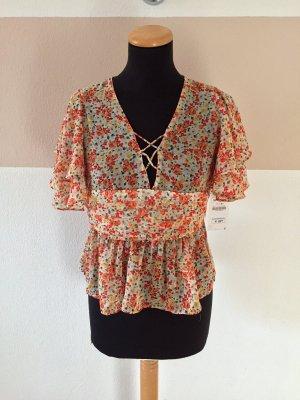 A21031010 Orange Blumen Rüschen Bluse von Zara, Gr. M (NEU, mit Etikett)