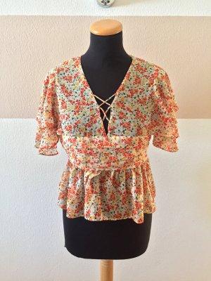 A21031101 Orange Blumen Bluse von Zara, Gr. S (NEU)