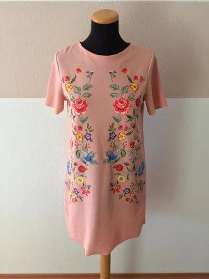 A21031102 Rosa Blumen Sommer Shirtkleid von Zara, Gr. S (NEUw.)
